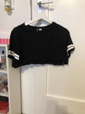 H&M Camisa recortada negro-blanco