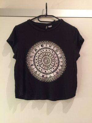 H&M Croptop in schwarz mit Muster