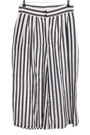 H&M Pantalone culotte bianco-nero motivo a righe stile casual