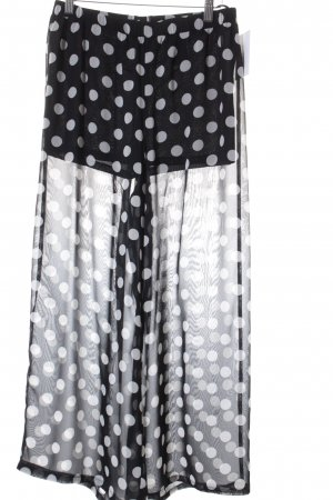 H&M Falda pantalón de pernera ancha negro-blanco estampado a lunares elegante