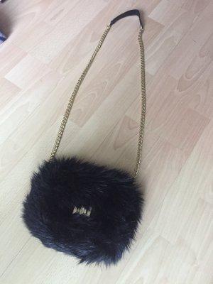 H&M Minibolso negro-color oro