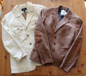H&M Damen Blazer Gr. 46/XXL braun beige Twin Set Kleidungspaket Reiterstil