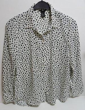 H&M Blusa tipo kimono blanco-negro Poliéster