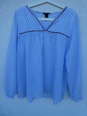 H&M – Damen Bluse, gemustert in weiß und Blautönen - Gebraucht, fast wie neu