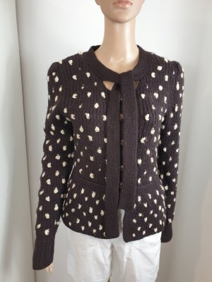 H&M Coarse Knitted Jacket black brown-white wool