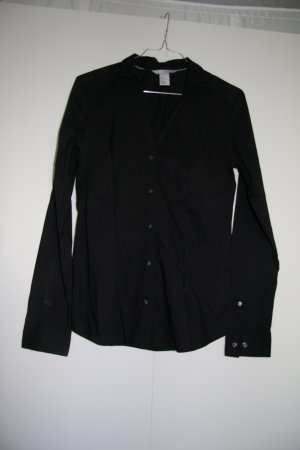 H&M Damen Hemd Bluse Business schwarz tailliert Gr. 38