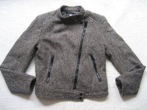 H&M Damen Jacke Größe 36 Braun Wolle Biker Stil Herbst Übergang
