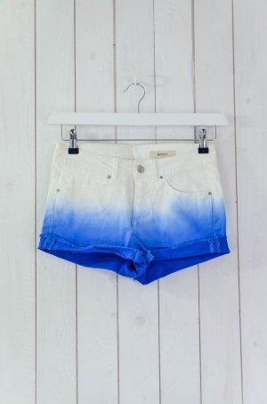 H&M Damen Jeansshorts Shorts Batik Farbverlauf Blau Weiß Baumwolle Elastan Gr.34