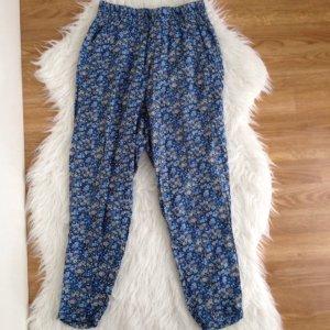 H&M Damen Leichte Sommerhose Strand Haremhose Hose Gr. 34 XS Blumen Muster Blau