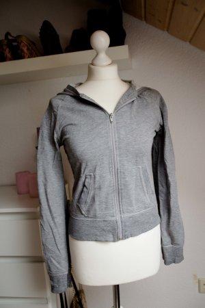 H&M Damen M 38 40 Jacke Sweatjacke Grau Pullover Kapuze Divided sportlich Zipper