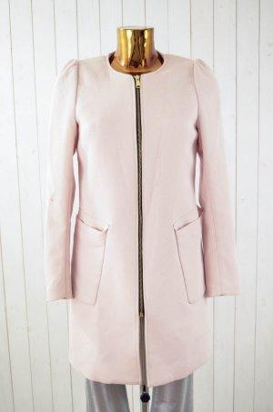 H&M Damen Mantel Rosa Struktur Gerade Gefüttert Reißverschluss Frühling Gr.36