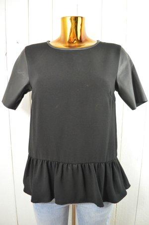 H&M Damen Oberteil Top Shirt Bluse Schwarz Schößchen Lederimitat Zip Gr. 38 NEU