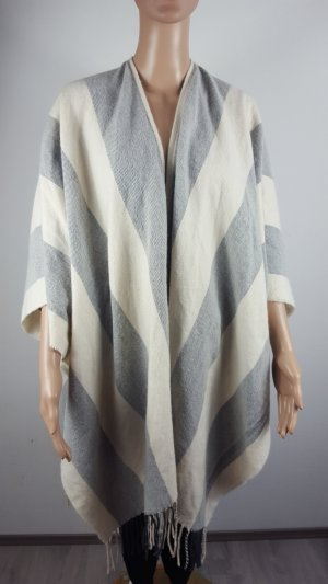 H&M Poncho de punto blanco puro-gris