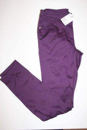 H&M Damen Röhren Hose Aubergine Violett 36 Neu