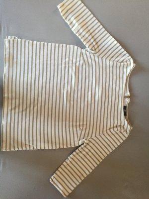 H&M Damen Shirt weiß golden mit Streifen Größe S