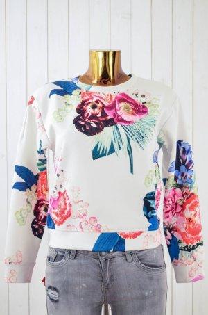 H&M Damen Sweatshirt Blumen Foto-Print Floral Bunt Pink Glänzend Bündchen Gr. XS