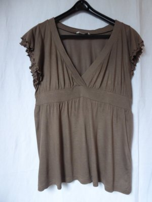 H&M – Damen T-Shirt, braun - Gebraucht, fast wie neu