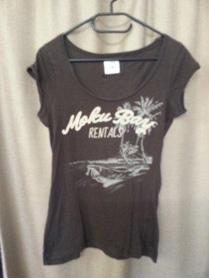 H&M Damen T-Shirt V-Ausschnitt mit Palmenmotiv in Dunkelbraun