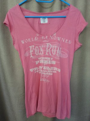 H&M Damen T-Shirt V-Ausschnitt mit Printmotiv in Rosa