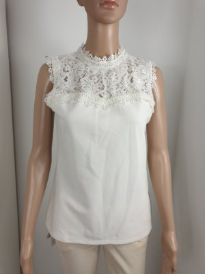 H&M Top de ganchillo crema-blanco puro