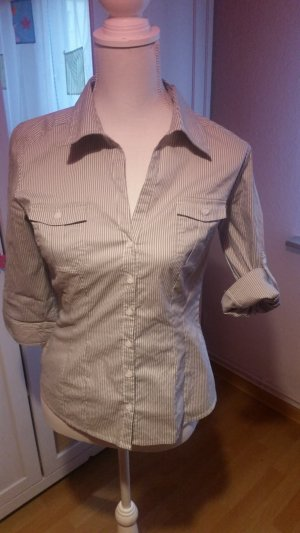 H&M Blusa-camisa blanco-gris claro