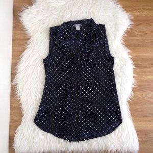 H&M Damenbluse Schluppenbluse Shirt Tunika Gr.34 XS blau/weiß Pünktchen