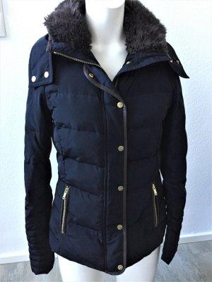H&M Daunen Jacke blau Fake Fur 34/XS
