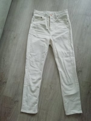 H&M Denim Jeans Offwhite Slim Ankle Highwaist Skinny Mom Momjeans