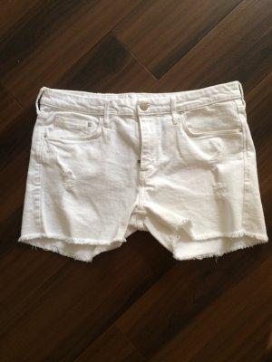 H&M Denim Jeans Shorts, hotpants, weiß, Gr 42, Fransen, neu