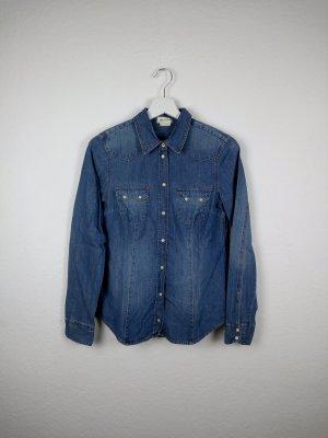 h&m denim jeanshemd S 36 blau cool fashion