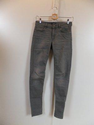 H&M Denim Skinny Jeanshose grau