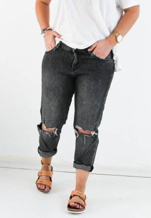 H&M Boyfriend Jeans grey-dark grey cotton