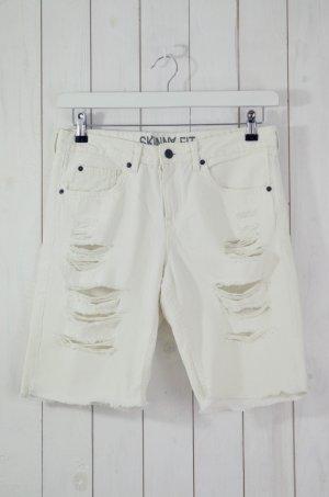 H&M DEVIDED Damen Jeansshorts Shorts Skinny Fit Weiß Used Optik Baumwolle Gr.38