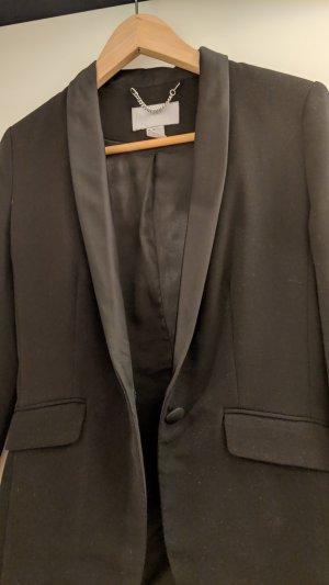 H&M Blazer de esmoquin negro Algodón