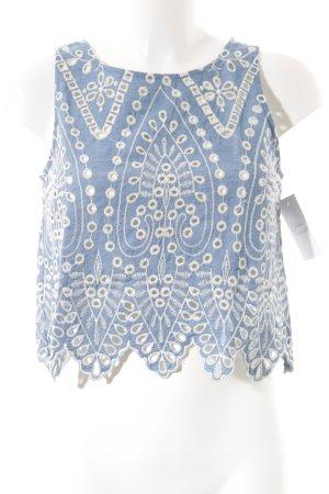 H&M Divided ärmellose Bluse kornblumenblau-weiß Street-Fashion-Look
