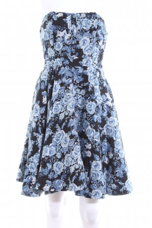 H&M Divided Bandeaukleid schwarz-blau Allover-Druck Elegant