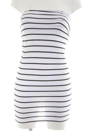 H&M Divided Bandeaukleid schwarz-weiß Streifenmuster Casual-Look