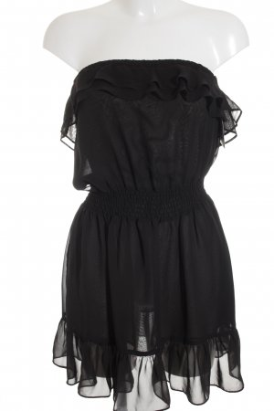 H&M Divided Bandeaukleid schwarz Romantik-Look