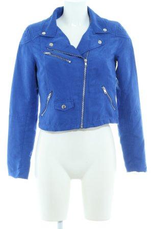 H&M Divided Bikerjacke blau-silberfarben Biker-Look
