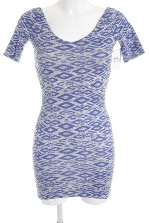 H&M Divided Bleistiftkleid stahlblau-creme Aztekenmuster Street-Fashion-Look