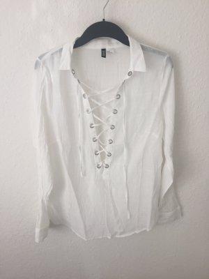 H&M Divided Bluse mit Schnürung Weiß