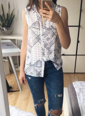 H&M Blusa sin mangas blanco-azul Viscosa