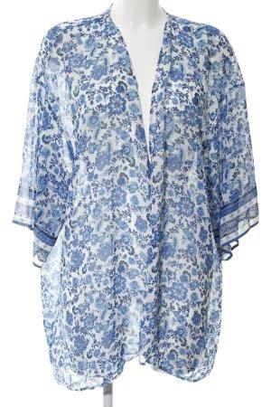 H&M Divided Blusenjacke weiß-blau Blumenmuster Casual-Look