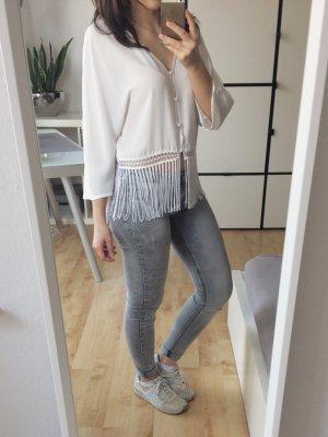 H&M Divided Bolero Jäckchen Kimono Überzieher Fransen weiß offwhite Größe 34