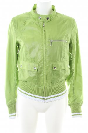 H&M Divided Chaqueta bomber verde-blanco estampado a rayas look casual