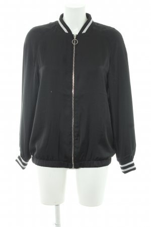 H&M Divided Chaqueta bomber negro-color plata look casual