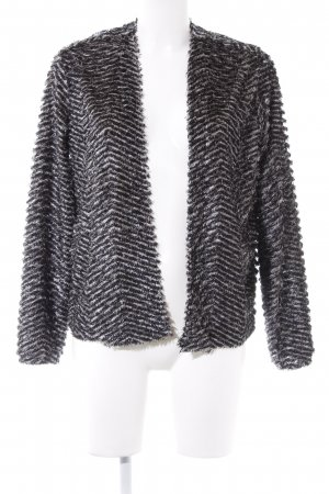 H&M Divided Cardigan schwarz-wollweiß Glanz-Optik
