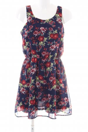 H&M Divided Chiffon Dress blue-red flower pattern casual look