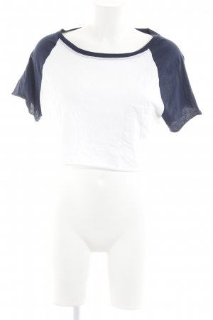 H&M Divided Cropped Top dunkelblau-weiß Casual-Look