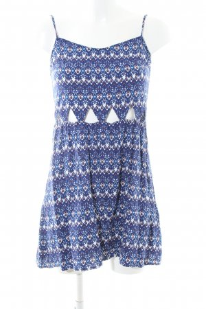 H&M Divided Cut Out Dress blue-white allover print casual look